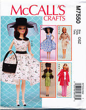 "MCCALLS SEWING PATTERN 7550 11½""/29CM BARBIE RETRO, VINTAGE FASHION DOLL CLOTHES"