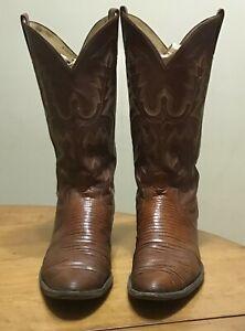 Vintage Panhandle Slim Cowboy Boots Brown Lizard Mens 12 D Medium Western  🐴
