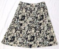 Jones New York women's a-line skirt size L black floral mid-calf nylon