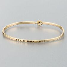 Simple Gold Faith Love Hope Engraving Vintage Brass Classic Bangle Bracelet