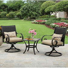 Patio Furniture Set 3 Piece Metal Outdoor Bistro Table Rocking Chair Yard Garden