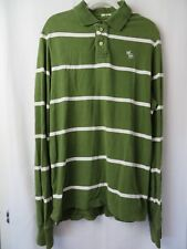Abercrombie Muscle Polo Shirt Long Sleeve Green Stripe Size XXL   #7164