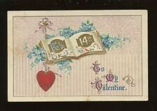 Greetings VALENTINE Feb 14th Heart Flowers Embossed PPC