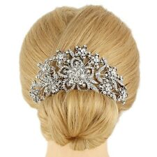 Bridesmaid Bridal Wedding Silver Austrian Crystal Swiss Cut Diamond Hair Comb