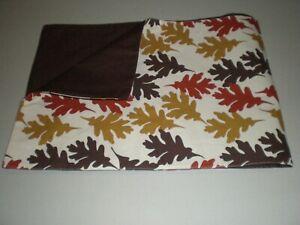 "Table Runner Autumn Fall Thanksgiving Oak Leaves Gold Rust Brown 72"" Linen New"