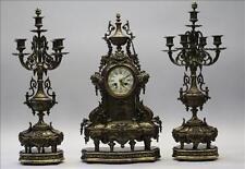 Xxl Antique Brussels Clock mantel set candelabras caryatids Bronze Luppens marke
