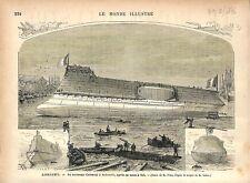 Morbihan Bretagne Port de Lorient Cuirassé Le Redoutable GRAVURE OLD PRINT 1876