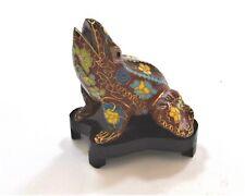Vintage Cloisonne Frog on Wood Stand. Lovely Floral Pattern. Hand Made