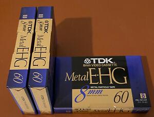 3x TDK 8mm Video Cassette Metal E-HG 60 Kassette OVP PAL Leerkassette