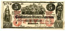1861   $5     Counterfeit   Confederate Currency CT-31