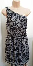 TOPSHOP ONE SHOULDER GREY & BLACK ABSTRACT ANIMAL PRINT MINI DRESS TOP FIT 8-10