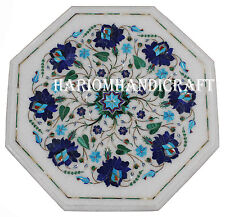 """15"""" White Marble Center Coffee Table Lapis Floral Inlay Living Home Decor H2553"""