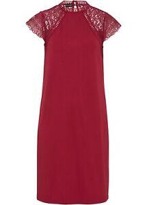 Kleid mit Spitze Gr. 48/50 Dunkelrot Damen Sommerkleid Mini Freizeit-Dress Neu*