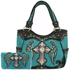 Western Cross Wings Country Handbag Concealed Carry Purse Women Purse Wallet Set