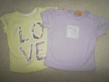 Two toddler girls t-shirts age 18-24 months one yellow and one lilac
