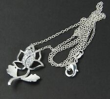 Women's 925 Silver plated single stem Rose flower Pendant snake chain Necklace
