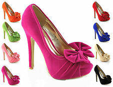 NEW WOMENS HIGH HEEL PLATFORM PEEP TOE PARTY SHOES PUMPS SIZE 3-8 H182 SUEDE