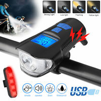 LED Bicycle Headlight USB Rechargeable Bike Front Rear Light w/ Horn Speedometer