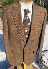 New listing Vintage 1970s Windowpane Plaid Blazer 40L -In-Style Sport Coat Suit Jacket + Tie