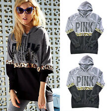 PINK Women Casual Long Sleeve Hoodie Jumper Pullover Sweatshirt Coat Tops Shirt