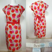 Boden Beige Red Spotted Silk Shift Dress Size 14 Long Belted Wedding Party