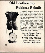 1960 Print Ad L.L. Bean Old Leather Top Rubbers Rebuilt  Freeport,Maine