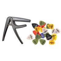 Guitar Capo Guitar Pick Tune Clamp with 24pcs Guitar Plectrums Guitar Accs