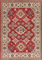 New Red Super Kazak Oriental Area Rug Wool Hand-Knotted Geometric Carpet 6'x9'