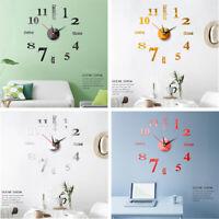 Modern DIY Large Wall Clock 3D Sticker Home Decoration Mirror Surface Decal Hot