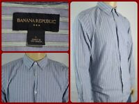 Banana Republic Blue Green Pinstriped L/S Btn Front Dress Shirt Mens Lg Office
