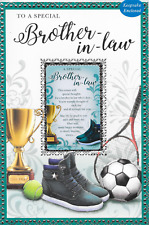 SPECIAL BROTHER IN LAW BIRTHDAY CARD, KEEPSAKE WALLET CARD,SPORTS, 9 X 6 (N8)