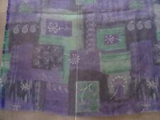 Tissus voilage bleu vert motif fleurs taille H217 x L150 cm parfait état NEUF