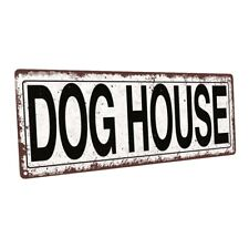 Dog House Metal Sign; Wall Decor for Porch, Patio, or Deck