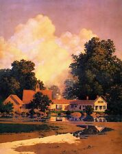 "MAXFIELD PARRISH BOOK PRINT ""SUNUP"" COUNTRY HOUSE & BARN RURAL NEW ENGLAND"