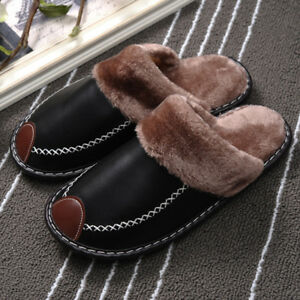 Winter Men Pu Warm Cotton Slippers Plush Shoes Non-Slip Home Indoor Slipper