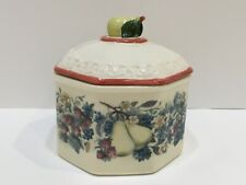 """Avon Octagon Bowl Dish With Lid Sweet Country Harvest 4.75"""" Diameter Signed"""