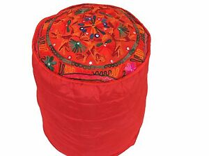 """Red Round Pouf Footstool Cover Floral Embroidery Floor Ottoman Slipcover 16"""""""
