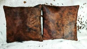 "Cowhide Pillows Cushion Cover Leather Hair on Cow Hide Skin 16"" x 16"""