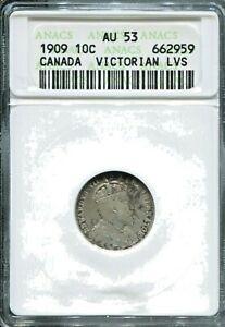 CANADA - BEAUTIFUL SILVER 10 CENTS, 1909 (VICTORIAN LVS), KM# 10, ANACS AU 53