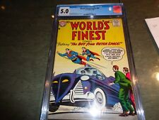 World's Finest #92 Batmobile & Skyboy App! Batman Superman CGC 5.0 VG/F 1958