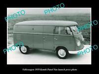 OLD LARGE HISTORIC PHOTO OF 1959 VOLKSWAGEN KOMBI PANEL VAN LAUNCH PRESS PHOTO