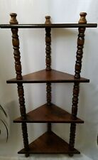 "Vintage 4 Tier Solid Wood 40"" Corner Shelf Tower"