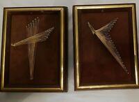 Vintage 1970s String Art Abstract Framed Set of 2 Flight Up & Mod Cross Signed