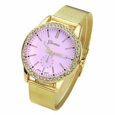 Ladies Fashion Geneva Pink Dial  Stainless Steel Gold Mesh Band Wrist Watch