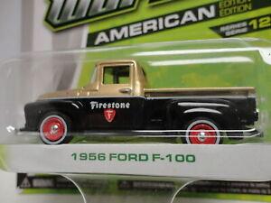 Greenlight 1956 FORD F-100 Black & Gold '56 Pickup Truck w/RR MOTOR WORLD