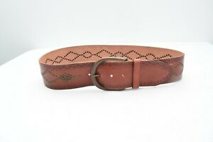 Fossil Brown Medium Boho Leather Floral Studs Brown Boho Womens Wide