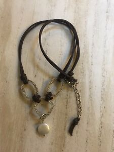 Silpada N1257 Hammered Sterling Silver Coin Brown Leather Necklace