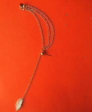 Pretty Gold Tone Tassel Chain Leaf Stud Dangle Earrings & Ear Cuff: UK seller