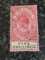 GIBRALTAR POSTAGE REVENUE STAMP SG105 FIVE SHILLINGS PARCEL CANCEL FINE USED