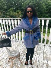 New Designer Maximilian Embossed purple blue suede Shearling fur Jacket Coat S-M